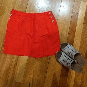 Banana republic sz 0 short orange linen skirt